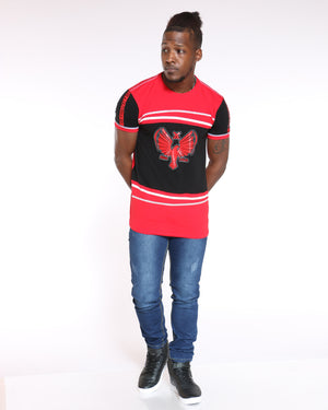Men's Tom Eagle Chain Print Tee - Red