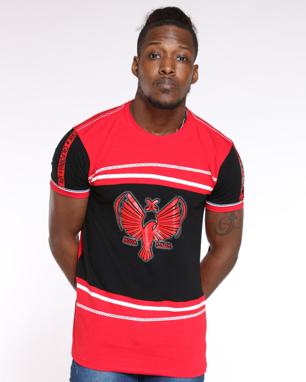 Men's Tom Eagle Chain Print Tee - Red-VIM.COM