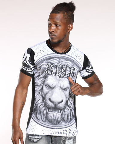 Men's King Lion Rhinestone Tee - White-VIM.COM