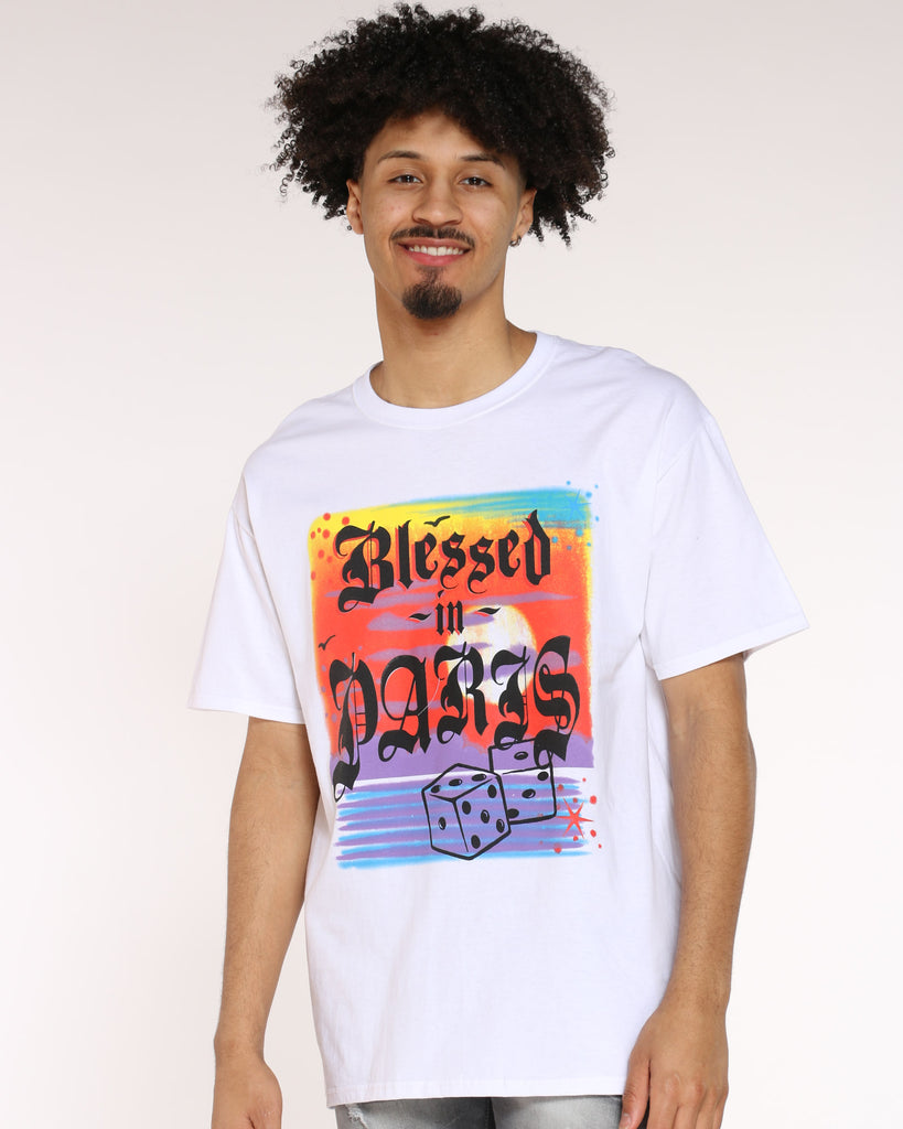 Blessed In Paris Dice Tee - White
