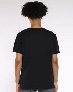 Men's Marlon Moto Pintuck Crew Tee - Black