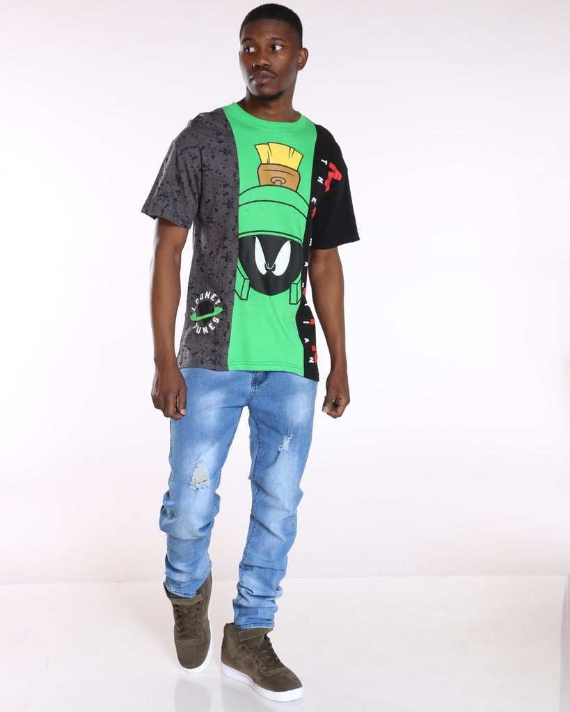 Marvin The Martian Three Panel Tee - Black Green