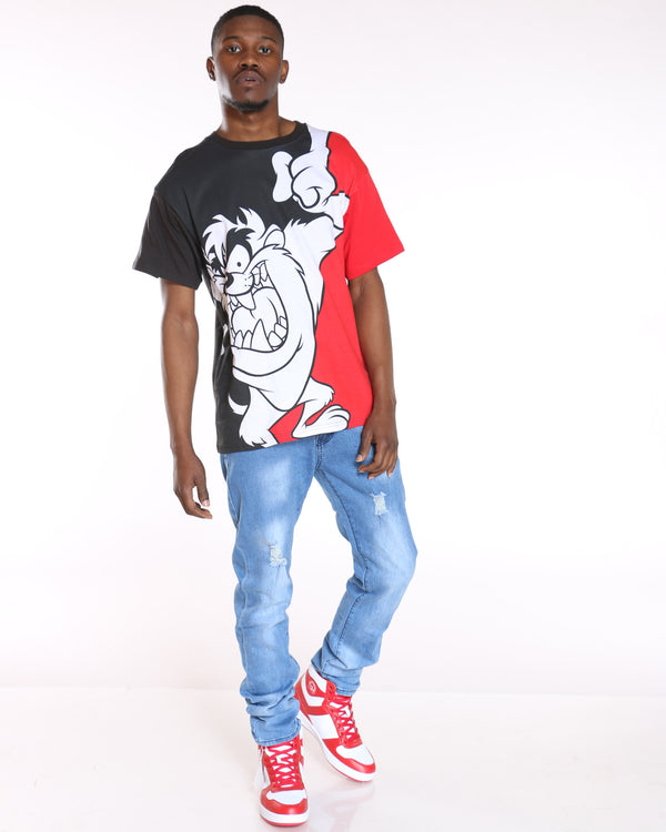 Men's Taz Split Tee - Black Red