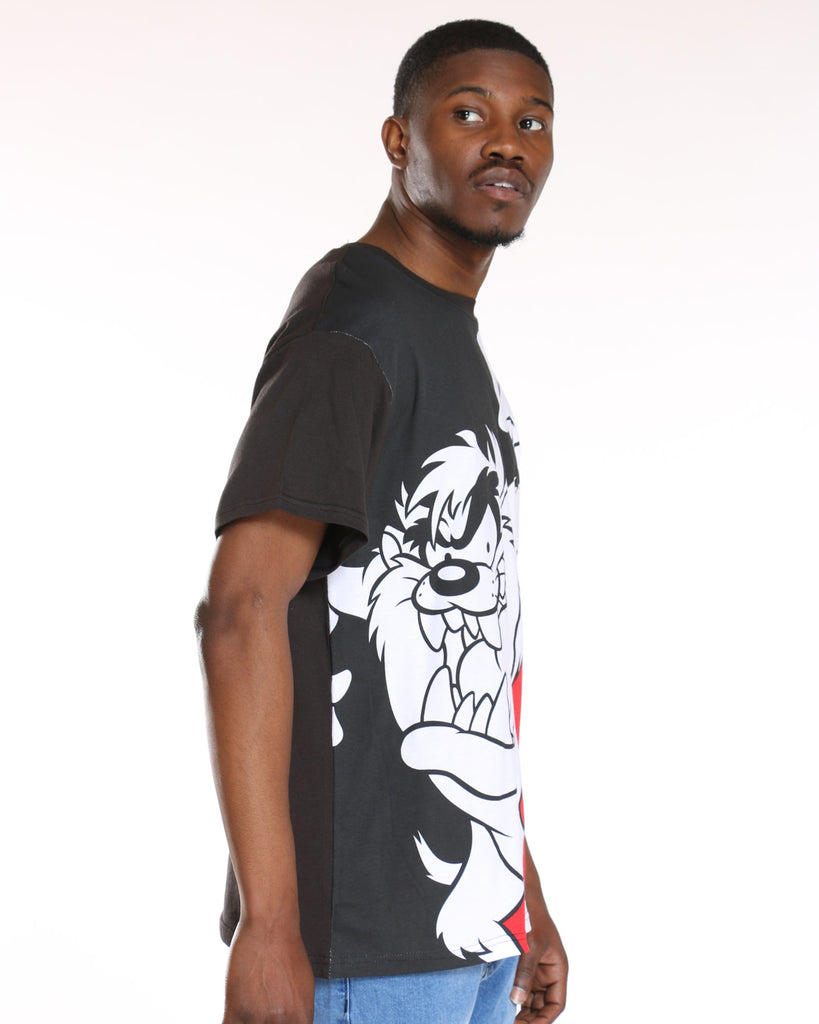 Taz Split Tee - Black Red