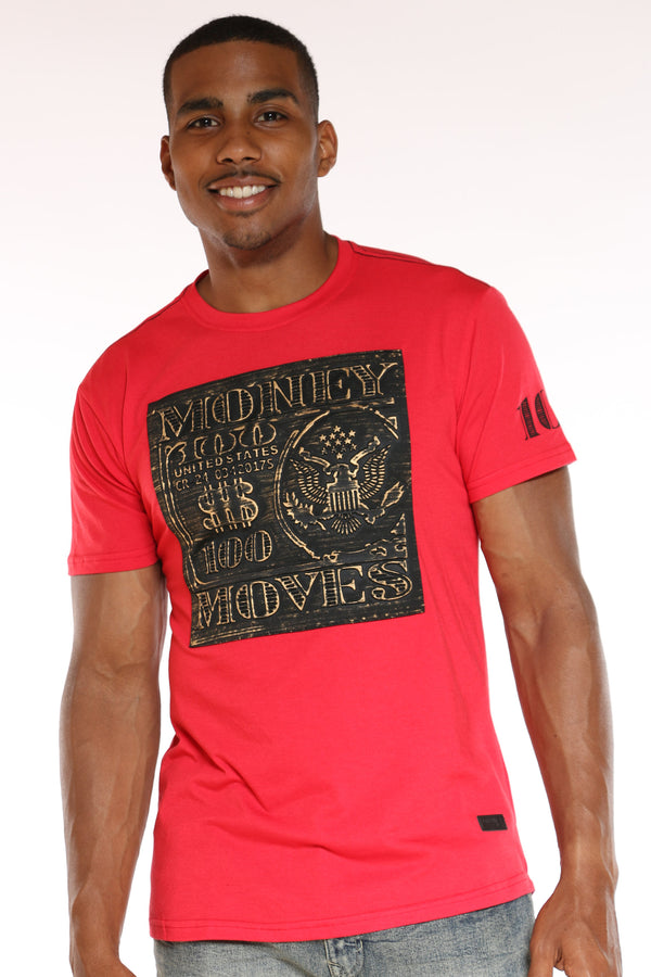 Men's Money Moves Brushed Metallic Tee - Red-VIM.COM