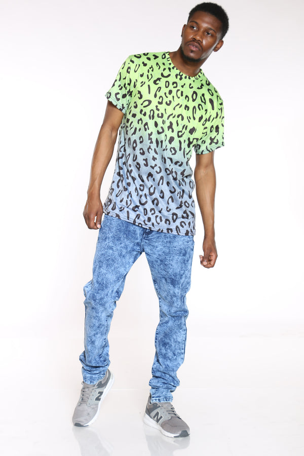 Men's Leopard Ombre Sublimation Tee - Green