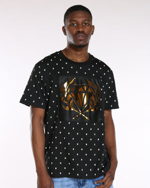 Men's Gold Diamond Embossed Foil Tee - Black-VIM.COM
