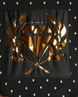 Men's Gold Diamond Embossed Foil Tee - Black