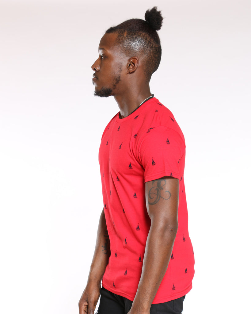 Sunny Boats Printed Tee - Red Navy