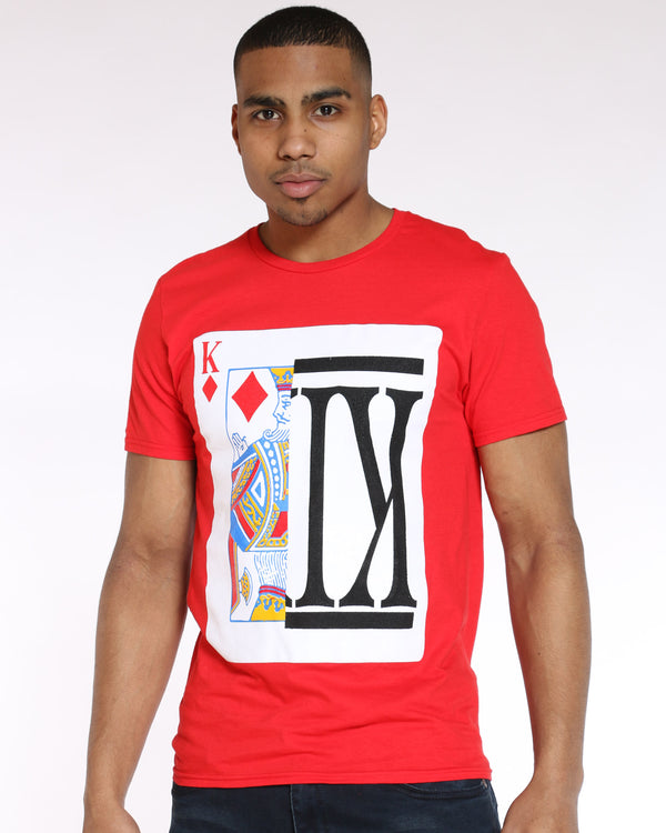 Men's King Split Card Tee - Red-VIM.COM