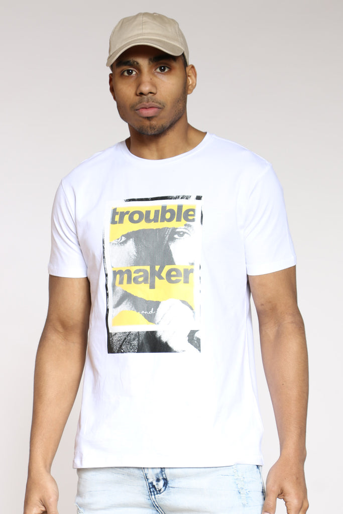 Trouble Maker Mesh Patch Tee - White