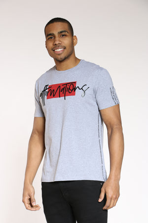 Men's Affirmations Puff Print Tee - Heather Grey