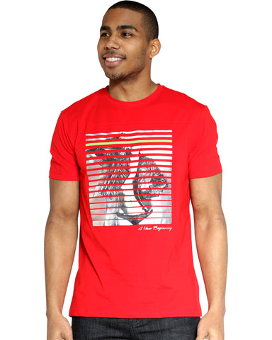 Girl Print Lines Tee - Red-VIM.COM
