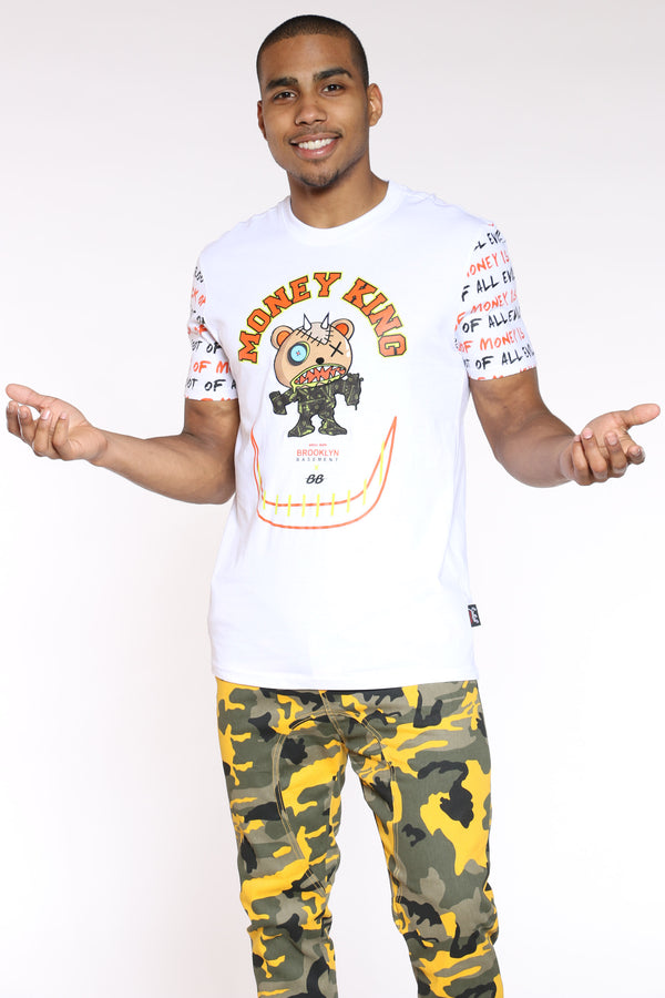 Men's Money King Character Tee - White-VIM.COM