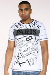 Paris Rhinestones Tee - White