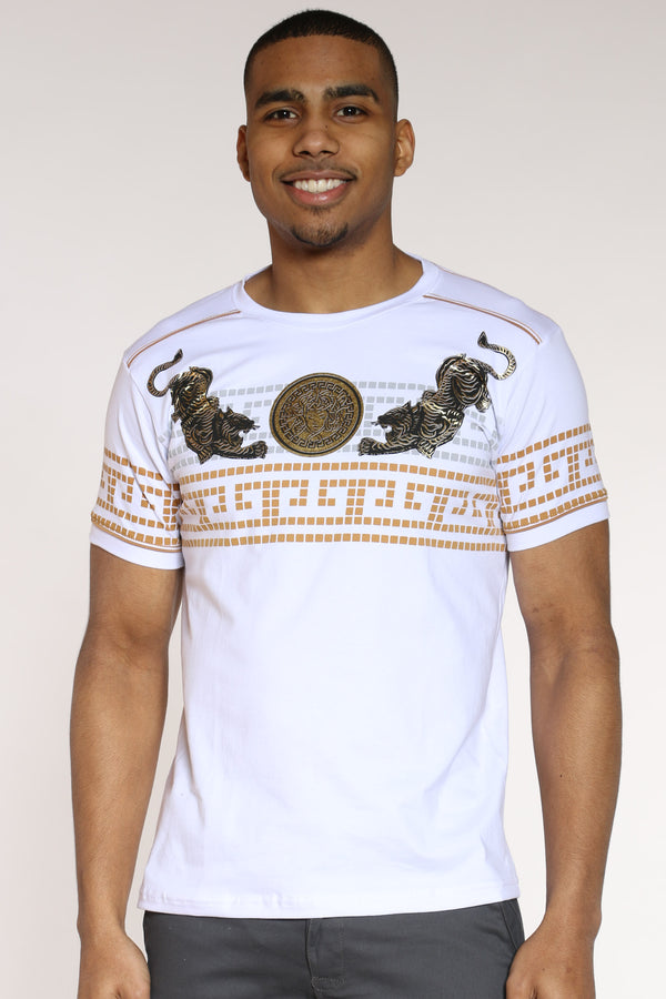 Men's Tiger Gold Sun God Tee - White