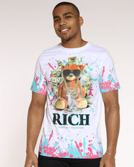 Bear Rich Paint Splatter Tee - White