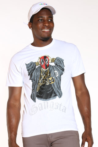 Men's Gangsta Pool Rhinestone Tee - White-VIM.COM