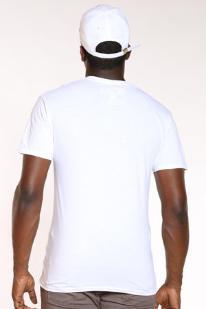 Men's Gangsta Pool Rhinestone Tee - White