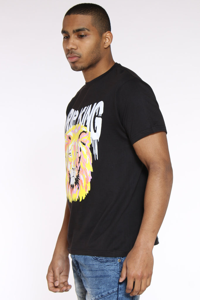 Drip King Lion Colorful Tee - Black