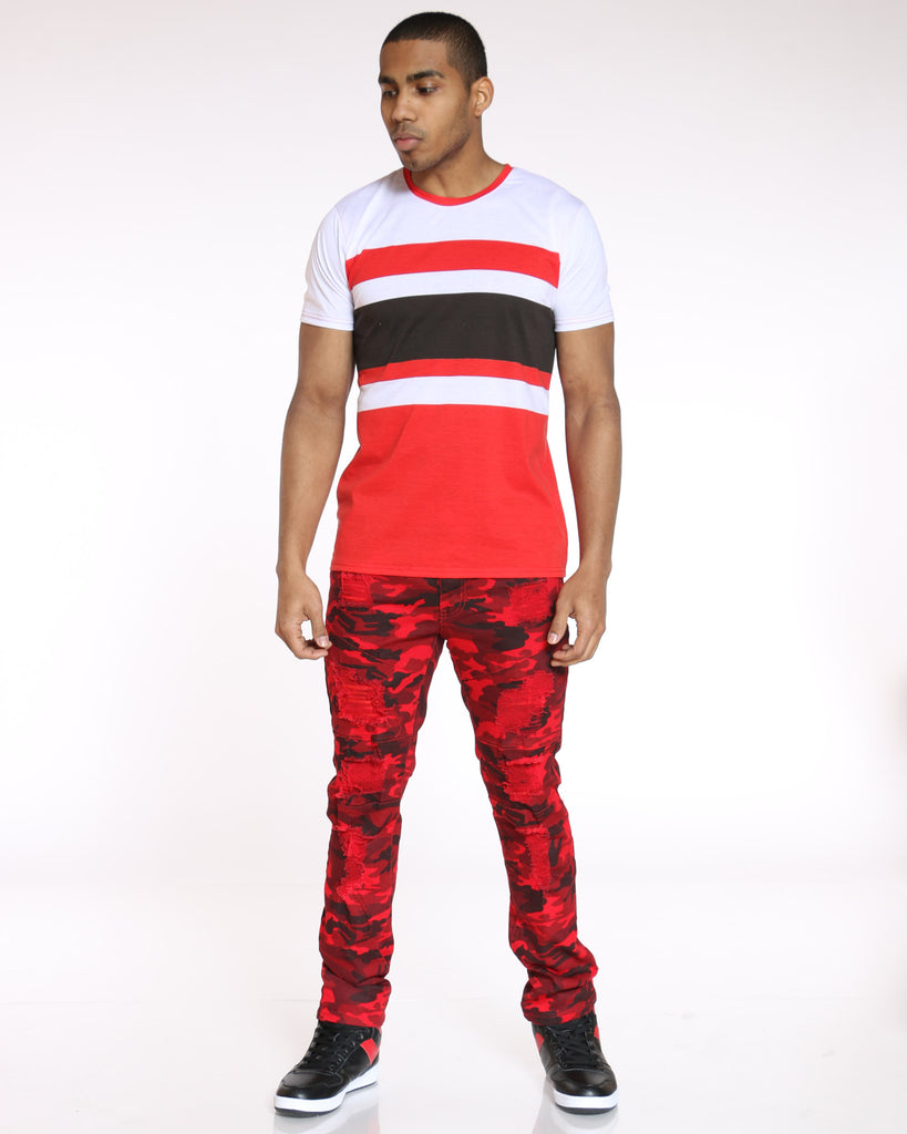 Randy Color Block Tee - Red