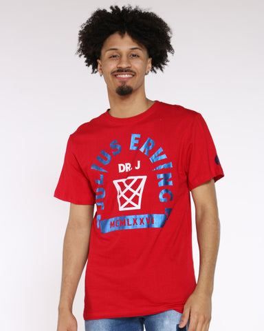Men's Dr. J Back 6 Print Tee - Red Blue-VIM.COM