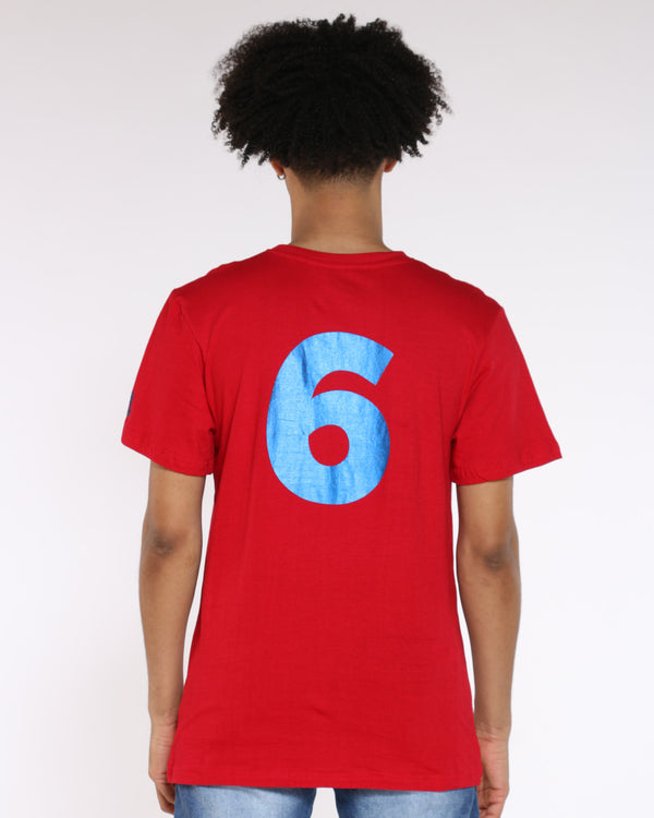 Men's Dr. J Back 6 Print Tee - Red Blue