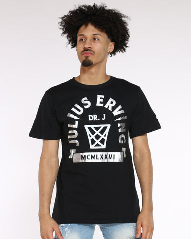 Men's Dr. J Back 6 Print Tee - Black White-VIM.COM