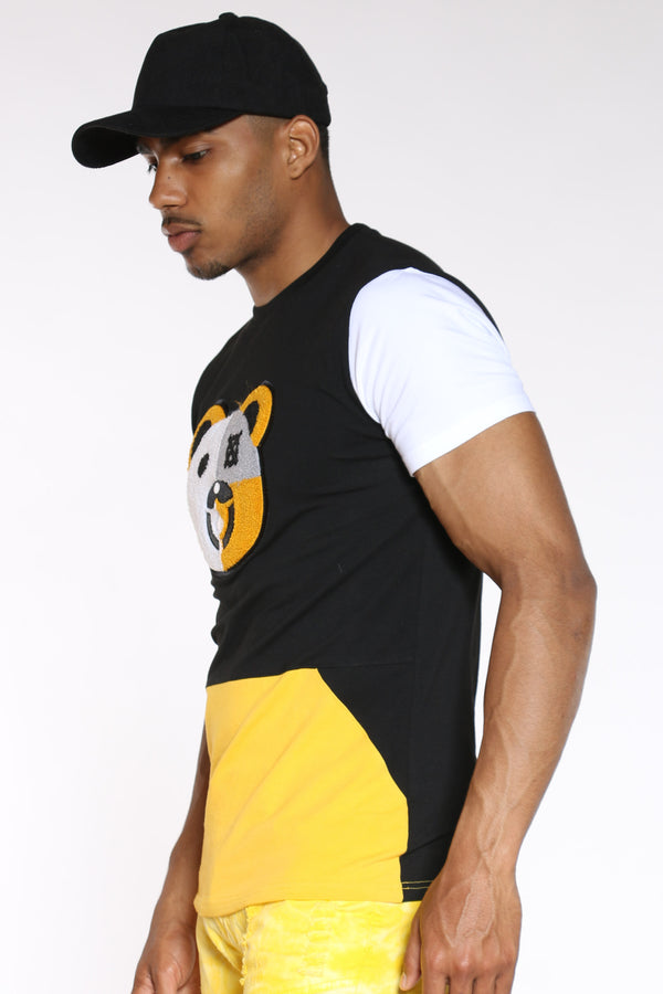 Men's Bear Chenille Patch Tee - Black Yellow