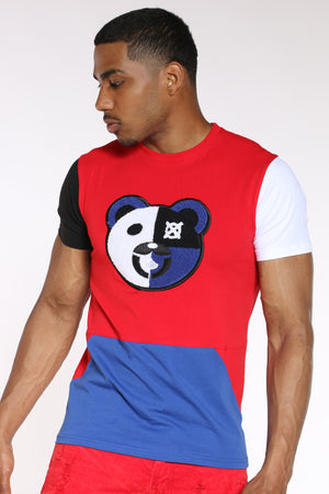 Men's Bear Chenille Patch Tee - Red-VIM.COM