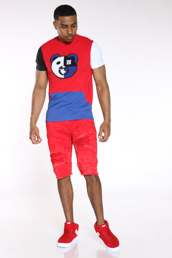 Men's Bear Chenille Patch Tee - Red