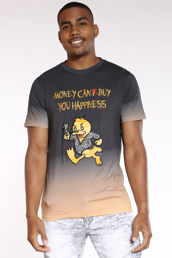 Men's Money Can Buy Happiness Duck Tee - Black Yellow-VIM.COM