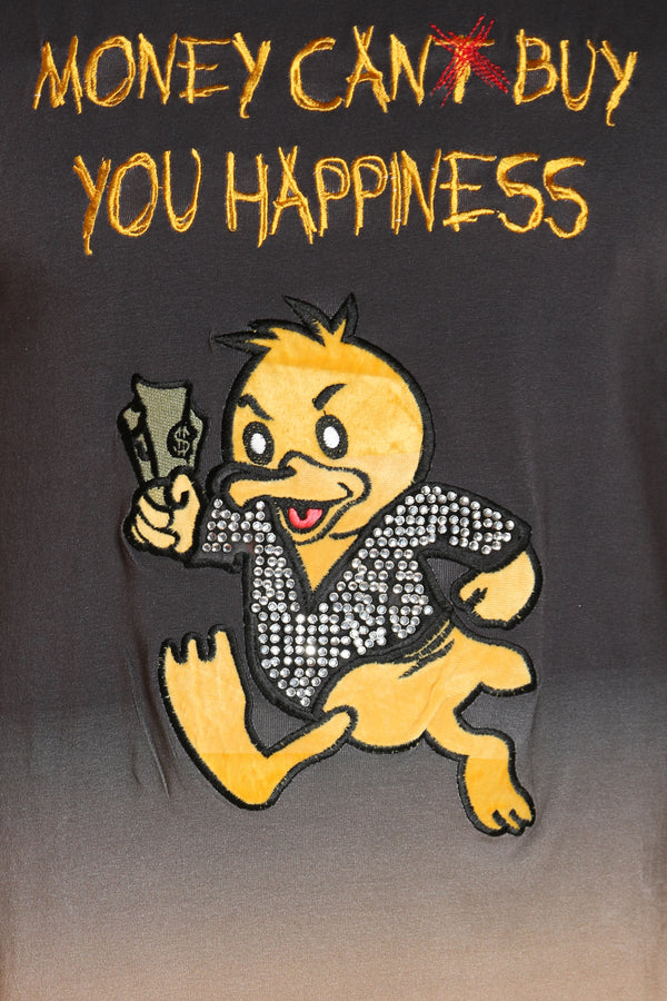 Men's Money Can Buy Happiness Duck Tee - Black Yellow