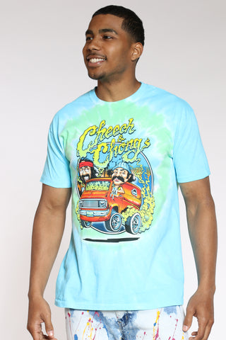 Men's Tie Dye Cheech & Chong Tee - Green Blue-VIM.COM