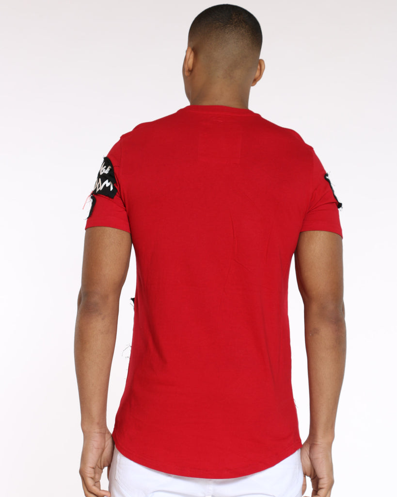 Patch Look Embroidered Tee - Red