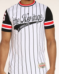 Heritage Pin Striped Tee - White