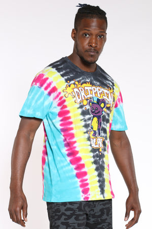 Men's Tie Dye Drippin Bear Tee - Black-VIM.COM