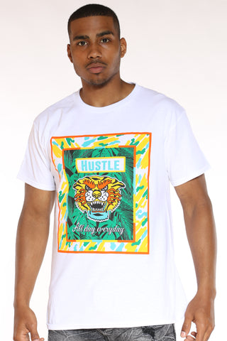 Men's Angry Tiger Tee - White-VIM.COM