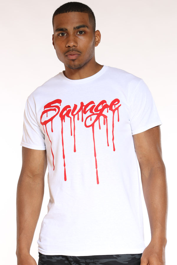 Men's Savage Drip Tee - White-VIM.COM