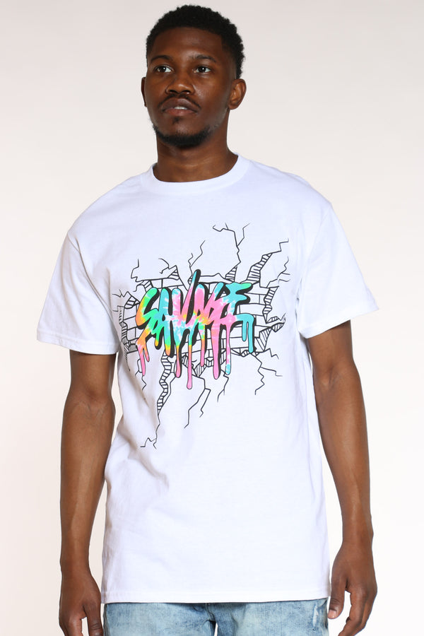 Men's Savage Colorful Tee - White-VIM.COM