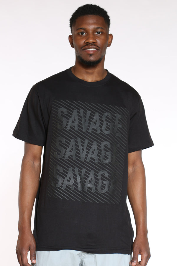 FRUIT OF THE LOOM-Men's Savage Rubber Print Tee - Black-VIM.COM