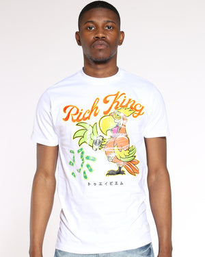 Men's Rich King Parrot Money Tee - White-VIM.COM