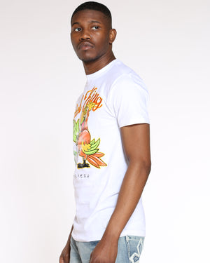 Men's Rich King Parrot Money Tee - White