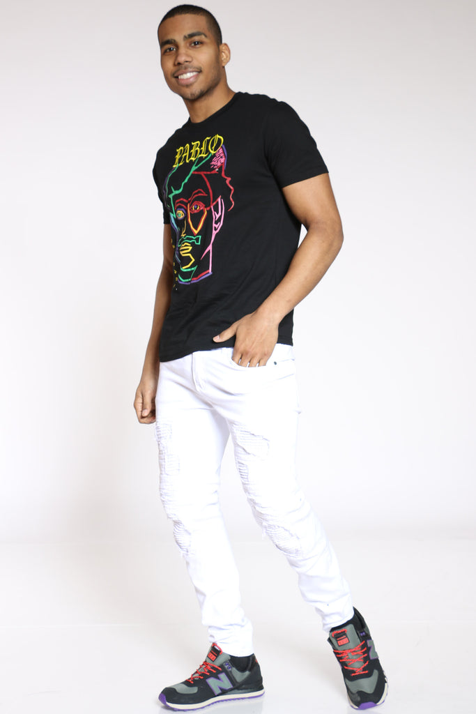 Pablo Colorful Face Tee - Black
