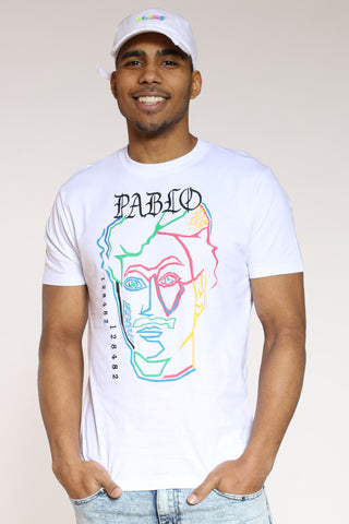Men's Pablo Colorful Face Tee - White