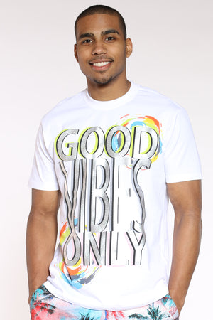 Men's Good Vibes Holographic Tee - White-VIM.COM