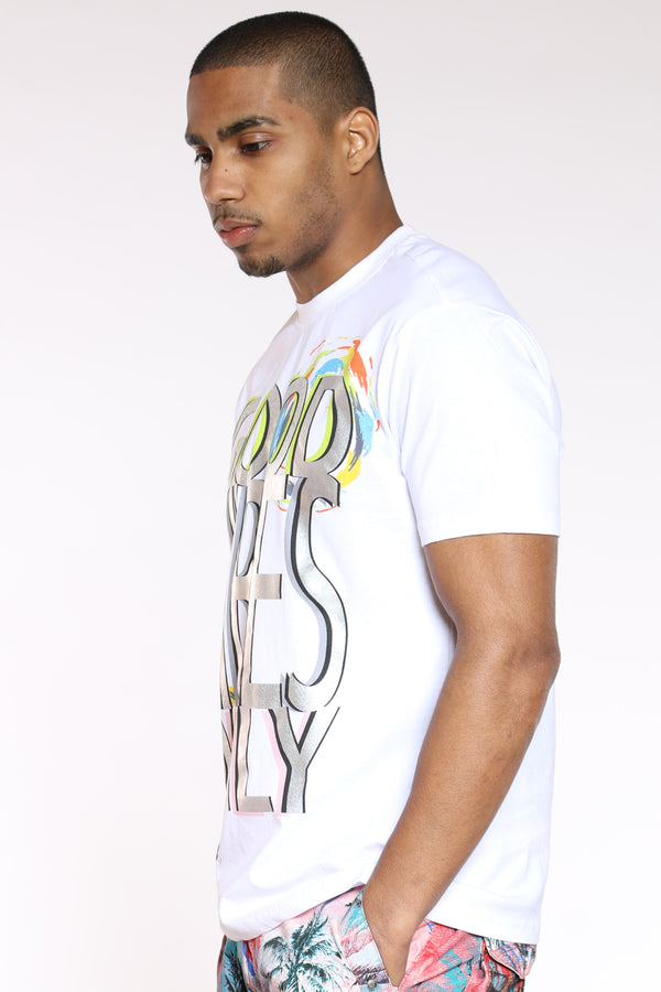 Men's Good Vibes Holographic Tee - White