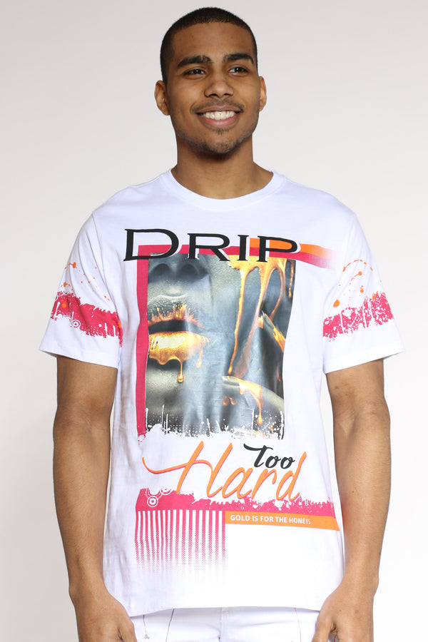 Drip Hard Girl Tee - White-VIM.COM