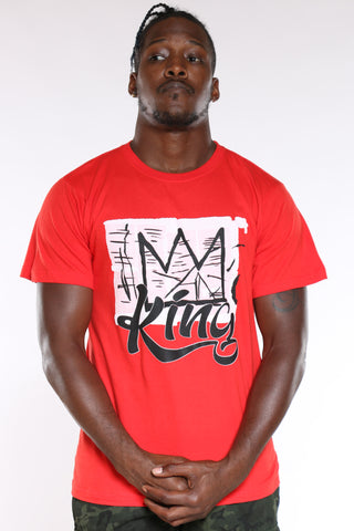 Men's King Script Tee - Red-VIM.COM