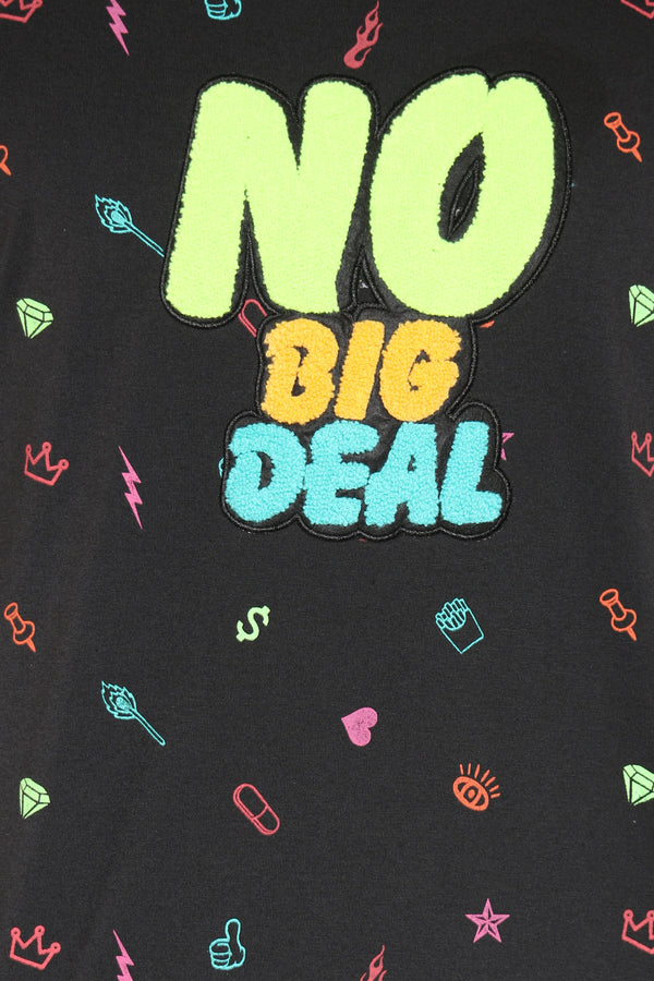 Men's No Big Deal Chenille Patch Tee - Black